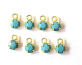 Sale! - Rare Opaque Turquoise Swarovski Drops/Charms (12)