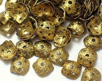 Sale Small Vintage Square Brass Filigree Bead Caps