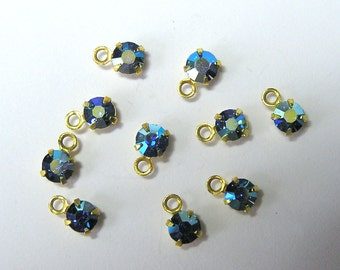 Sale! - Vintage Swarovski Sapphire AB Charms Rhinestones (12)