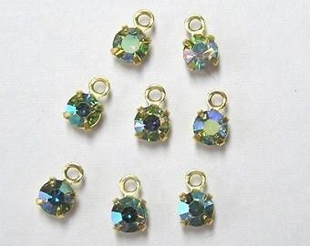 Sale! - Vintage Swarovski Peridot AB Crystal Drops/Charms (12) (F272)