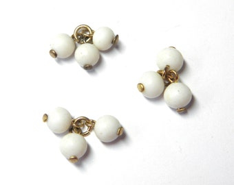 Sale! - Vintage Tri White Bead Dangle on Brass Chain
