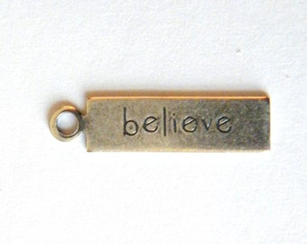 Sale! - Believe Tag Antique Silver by Trinity Brass (4)  (F308)