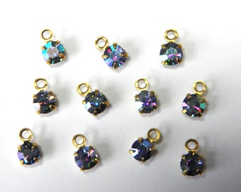 Sale! - Vintage Swarovski Rhinestone Crystal Charms Light Sapphire AB (12) (S2)