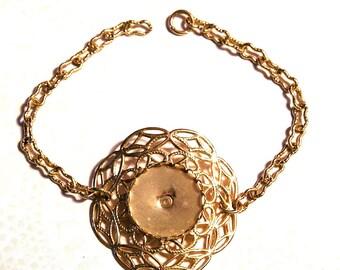 Sale! - Vintage Brass Filigree Bracelet Blank with Cab Setting