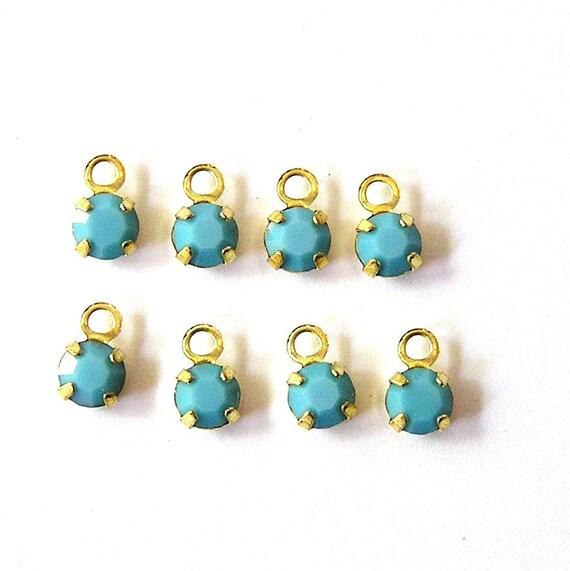 Rare Swarovski Opaque Turquoise Drops/Charms (12)