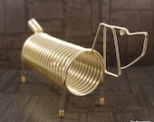 Vintage Brass Coil Letter Mail Organizer File Holder Dog