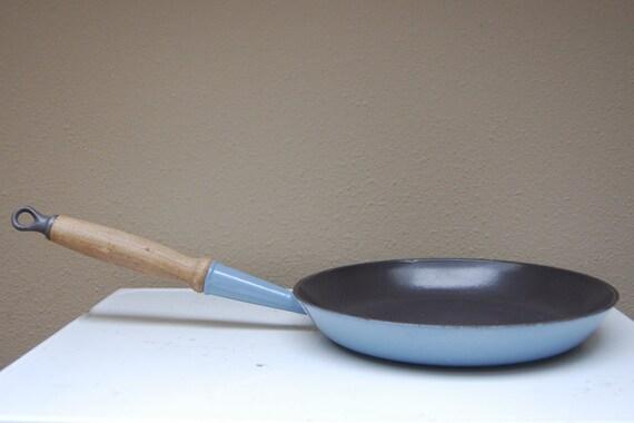 Vintage Le Creuset Pan No. 26 Light Blue Grey Cast Iron Wooden Handle France Frying Saute