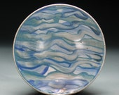 Green Blue Gray Ocean Waves Brush-Decorated Bowl