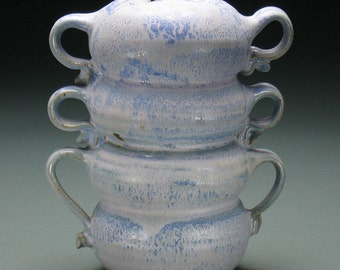 Four Pillows Six Handles Blue Gray Pink Vase