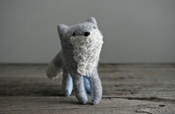 young grey fox soft sculpture animal