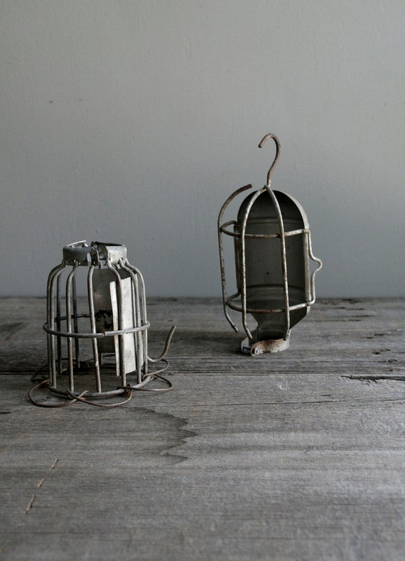 Industrial Cage Light Wire Covers Set Of Two By Ohalbatross