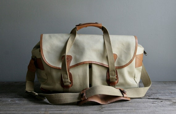 RESERVED. vintage canvas and leather camera bag