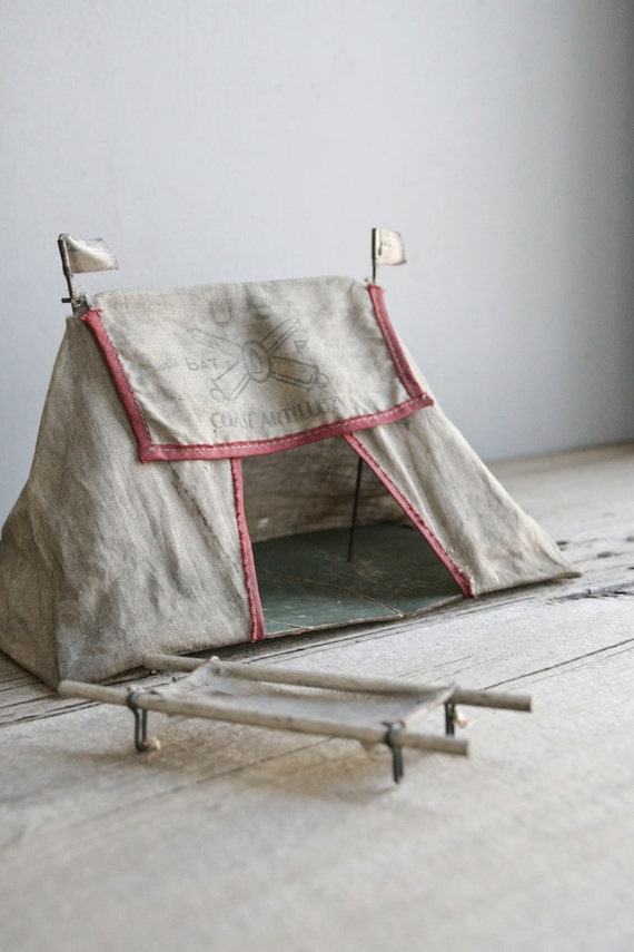 antique toy army tent & cots
