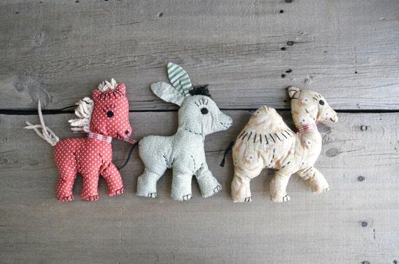1940s handmade toys, set of three