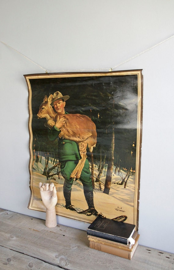 sale: 1930s DNR poster / ranger and deer