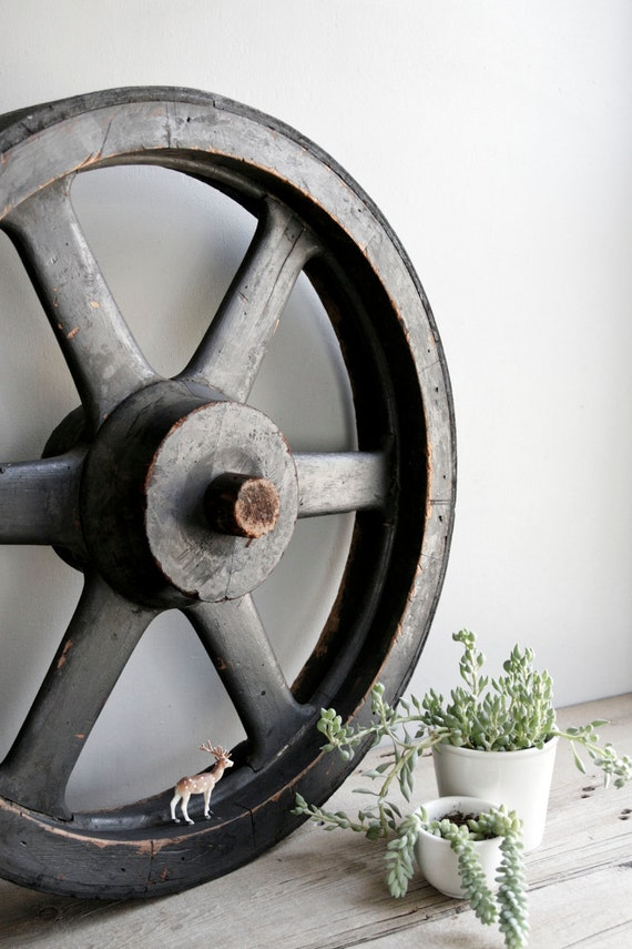 ON HOLD / huge factory pulley wheel / machine age industrial decor / no. 4