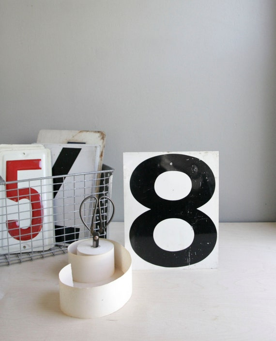 metal gas station number / industrial decor