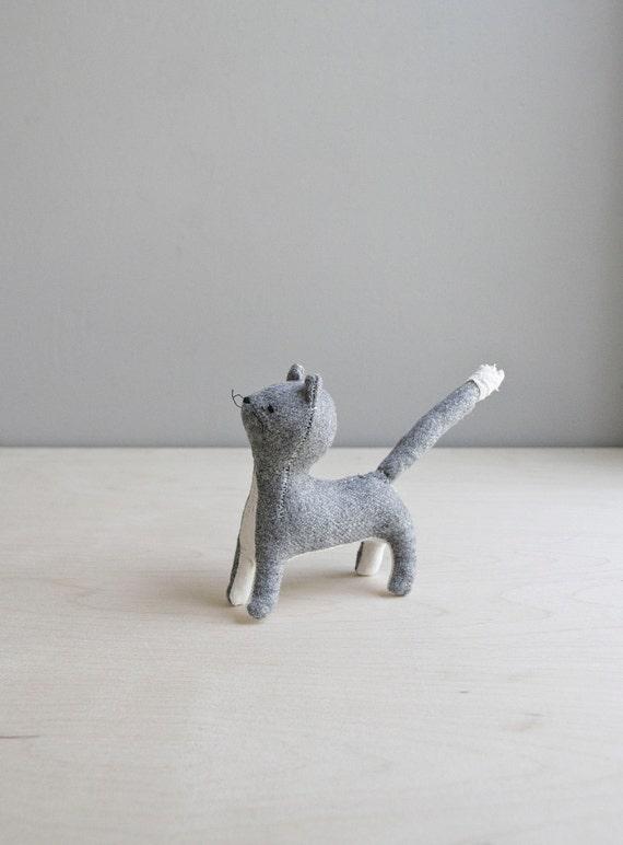 grey cat / soft sculpture animal