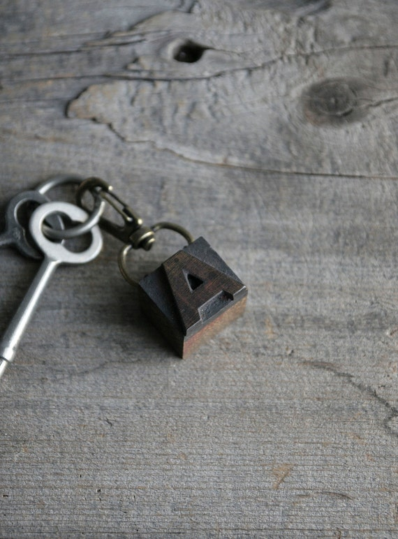 RESERVED letterpress keychain - pick a letter