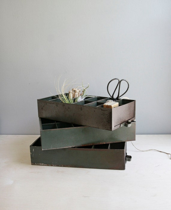 RESERVED. vintage industrial divided drawer, set of three