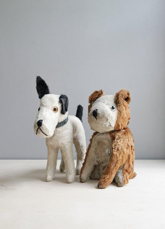 antique dog toy / straw stuffed white dog