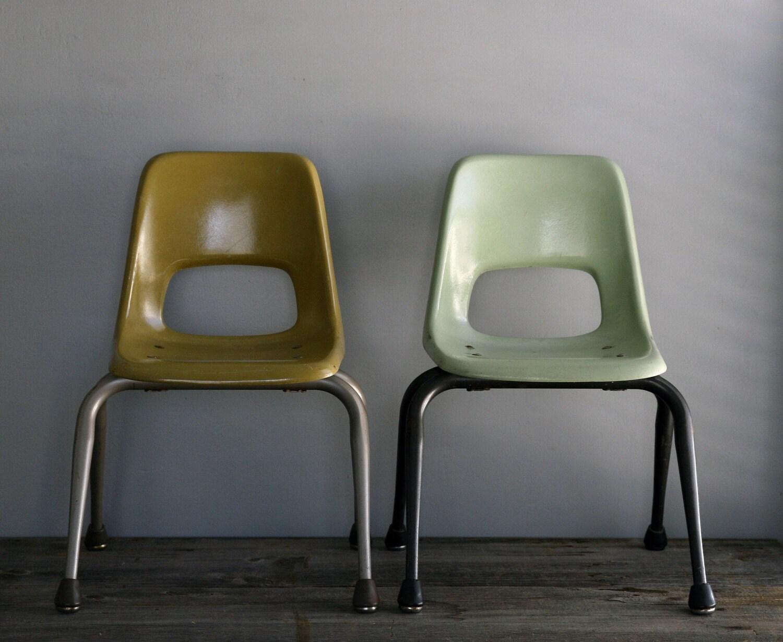 RESERVED pair of fiberglass children s chairs