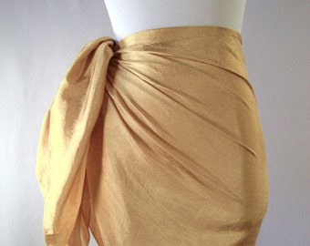 Mini Sarong - Short Pareo - Crinkled Silky Satin - Sunflower Gold Sarong - Swimsuit Cover up - Beach Skirt - Beachwear
