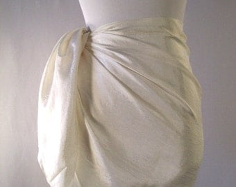 Mini Sarong - Short Pareo - Crinkled Silky Satin - Ivory Cream Sarong - Swimsuit Cover up - Beach Skirt - Beachwear
