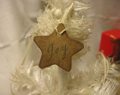 "16 Mini scented Primitive STAR  ""JOY""  paper hang Tags with string - JDMCreations"