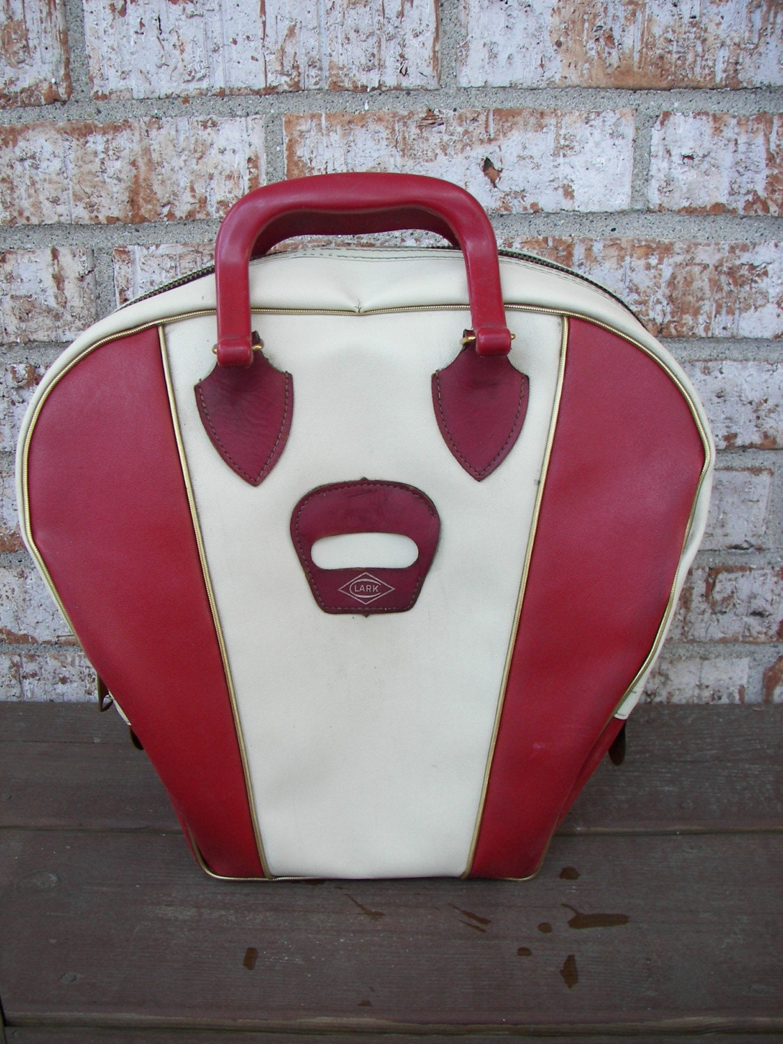 Vintage Bowling Bag Red And White By Clark By Zellesattic