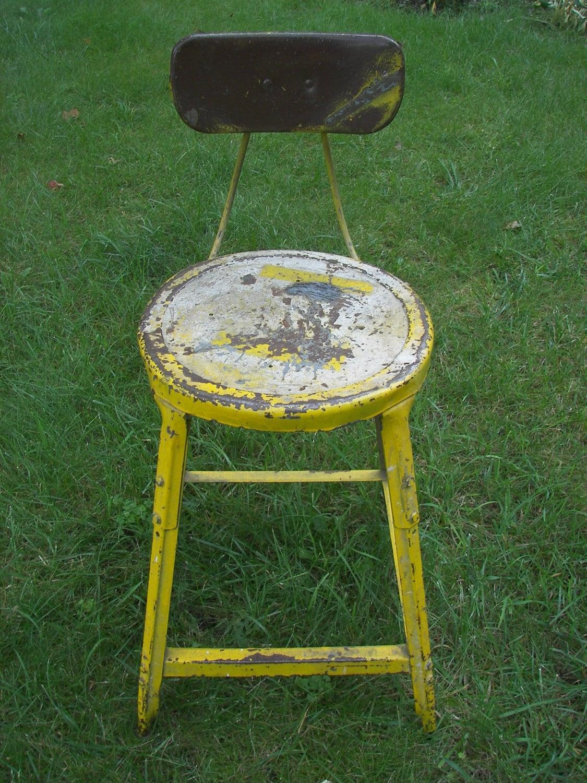 vintage industrial metal shop chair