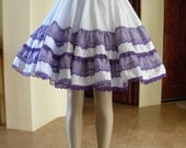 Vintage White & Lilac Lolita Square Dance Full Circle Skirt