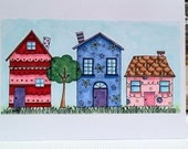 Hand crafted card - adorable houses CUSTOM LISTING