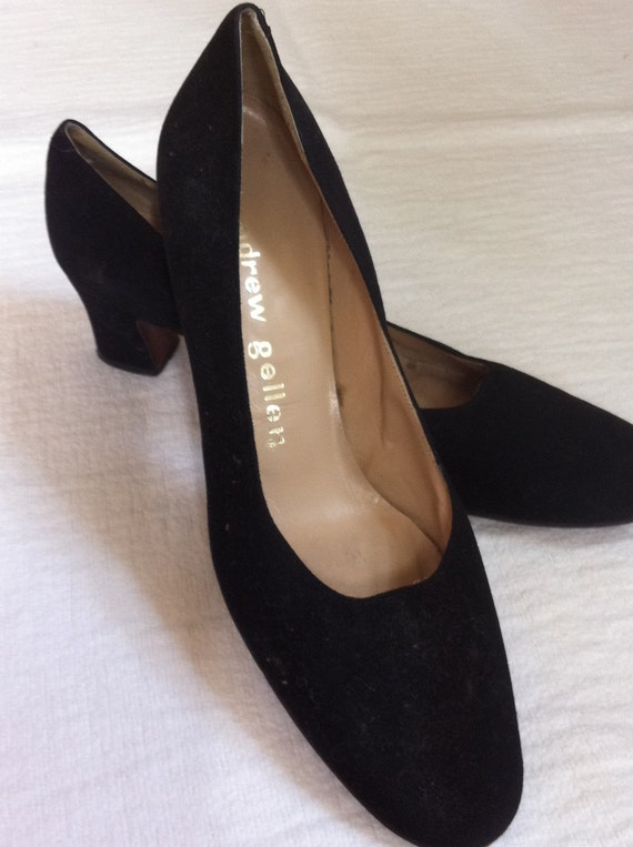 Vintage High Heel Shoes 1960's Andrew Geller Black Suede Leather High Heel Pumps Size 9