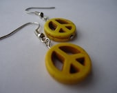 Yellow Stone Peace Sign Earrings