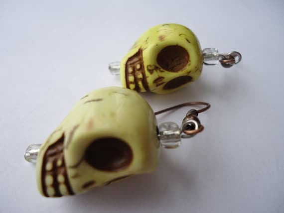 Day of the Dead Sugar Skull Gothic Punk Marble Dangle Earrings