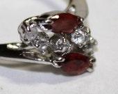 Dazzling vintage Sterling Silver Pink Tourmaline & CZ Ring, 925 Sterling Silver, Ring Size 6-1/2,