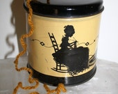 Vintage Tin Litho String or YARN Holder Can - Lady & Cat  SILHOUETTE, 40s era,