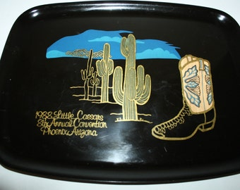 1988,Serving Tray,Couroc of Montery,Inlaid  Cowboy Boot, Cactus, Custom made for Little Caesars Pizza , Phoenix Arz.50 % off sale,
