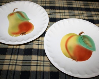 On Sale, 2 Hand Painted plates,FRUIT,FLUTED,  ERPHILA,Czechoslovakia, 8.5 in,Fruit Theme adds color to your retro kitchen.