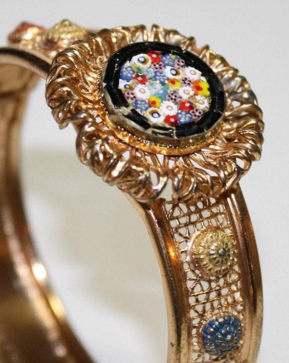Vintage  Micro Mosaic cuff Bracelet , filigree hinged Bracelet , handset Dainty Micro-Mosaic Flowers In Vivid Colors