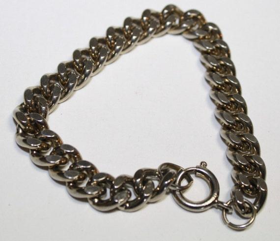 Vintage Germany Modernist Chunky Silver Tone Curb Chain Men,women,teen, Unisex Bracelet
