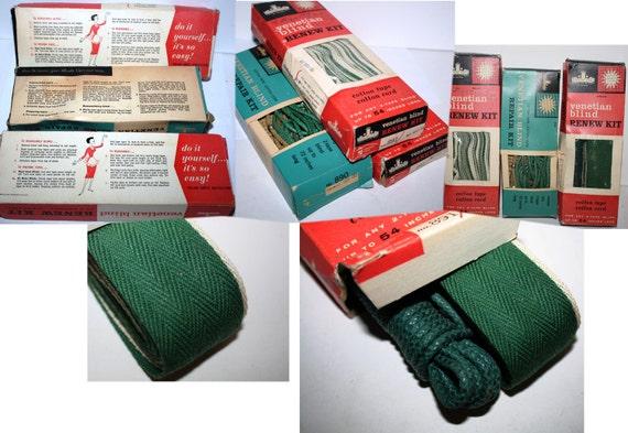 50s Sears Cotton Venetian Blind Repair renew Kits, DIY Original Mad Men Era,Harmony House, 3 boxes, drk Green, re-purpose into venetain Lamp
