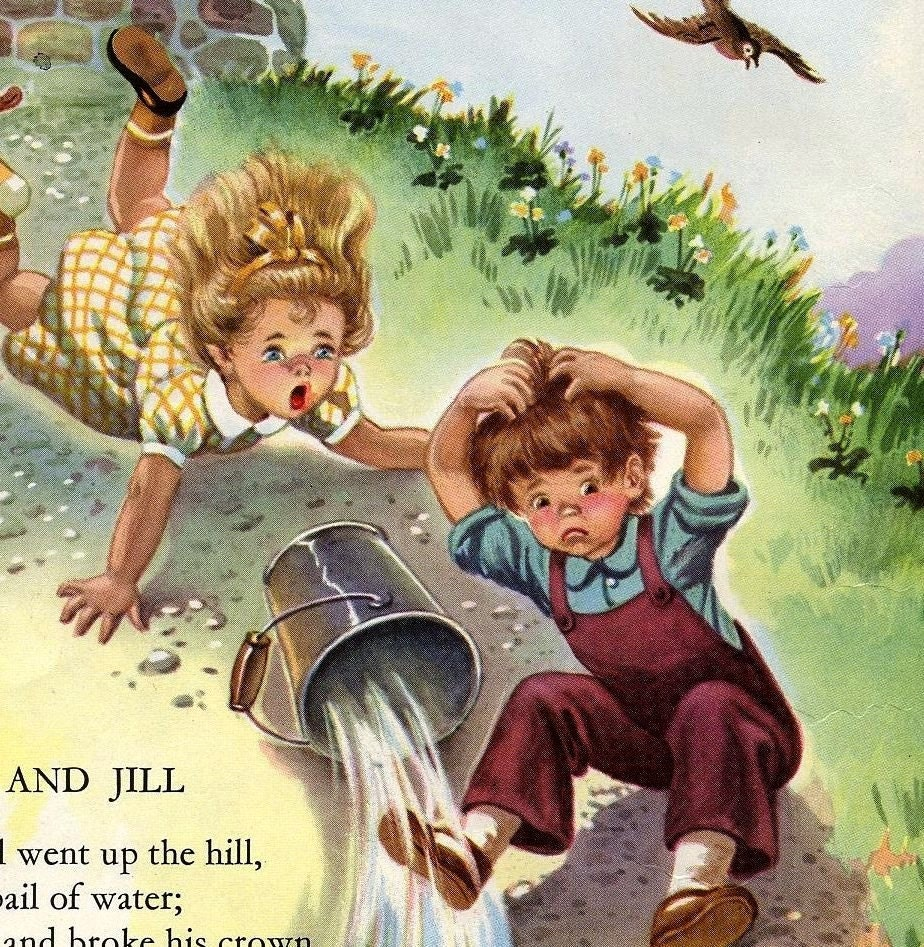 Jack and jill 1949 children 39 s poem book art for framing for Jack e jill house