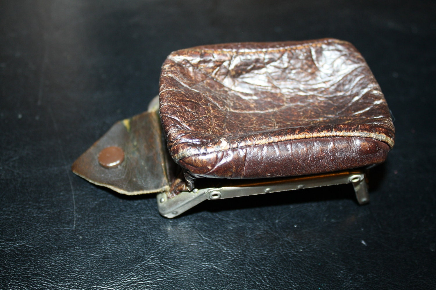 1900s Mens Folding Leather Coin Purse Owned By By