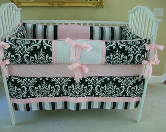 Black and white and pink Baby Bedding set