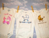 Vintage Baby Stroller Trio of Onesies - YOU PICK The SIZE