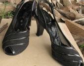 Stunning 1940s Black Mesh Sling Back Peep Toe Dancing Shoes