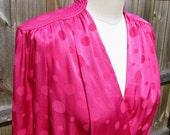 Lipstick Pink Polka Dots Vintage 1980s Power Blouse