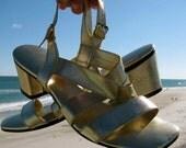 Gold Goddess Sandals Vintage 1960